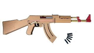 How To Make Cardboard AK47 Toy gun That Sh00ts from long distance - With Magazine