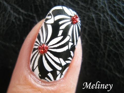 Konad Stamping Nail Art - Pinwheel Flower Design black and white easy cute tutorial
