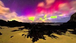 Aurora display on 17/01/13 at Sandigoe Beach in Caithness, Scotland.