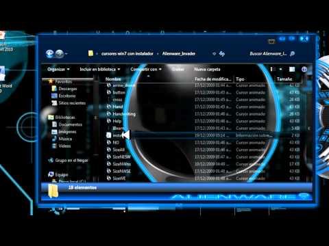Como personalizar windows 7 al estilo alienware + cursores + ventanas 3D y skin para el reproductor