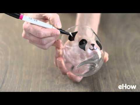 DIY Hand Painted Panda Milk Glass