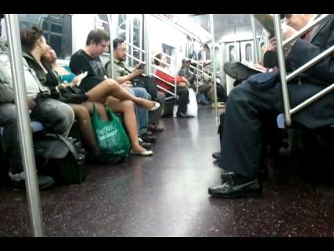 Drunk guy yelling on E train NYC