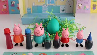 Coloring Easter Eggs with Peppa Pig Toys and Peppa Pig Stickers