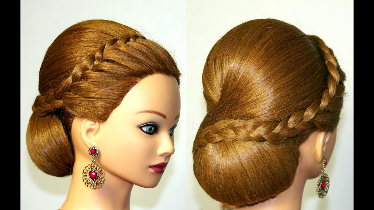 Hairstyle for medium long hair, bun updo with french braid - YouTube