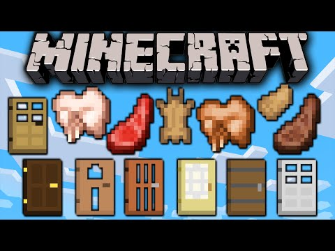Minecraft 1.8 Snapshot: New Item Designs Rabbit Meat Hide Foot Mutton Door Textures Easy Keys