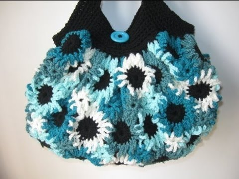 Crochet Bag Youtube : ... Purse - Left Handed Crochet Tutorial - Making the Flowers - YouTube