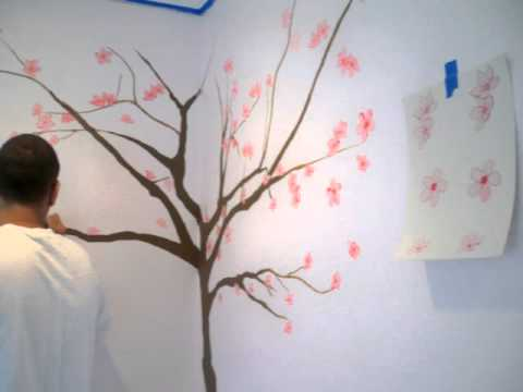 Japanese cherry blossoms by sole junkie youtube for Cherry blossom mural on walls