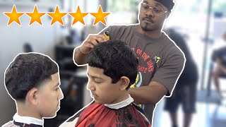 12 year old straight hair waver gets haircut by worlds best barber 💈🔥