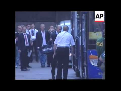 French team leaves the hotel for the stadium