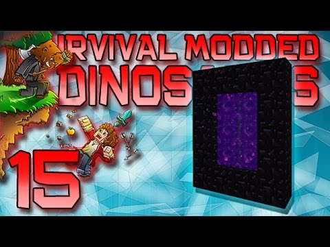 Minecraft: Modded Dinosaur Survival Let's Play w/Mitch! Ep. 15 - Nether Portal Build!