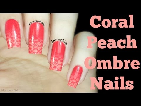 Nail Art Tutorial - Coral And Peach Ombre Nails - How To Stamped Gradient Nail Design