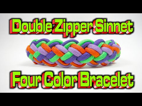 How To Make A Paracord Modified Double Zipper Sinnet {4 Colors} Bracelet!!