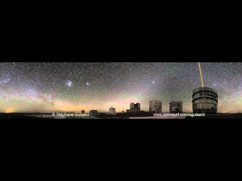 Paranal telescopes with Laser Guide star (Unique 360º night time lapse)