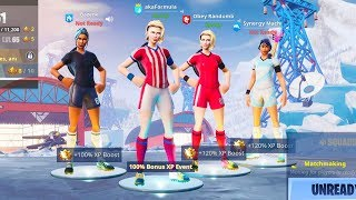 We created the biggest TRYHARD squad ever in Fortnite... (4 SOCCER SKINS!)