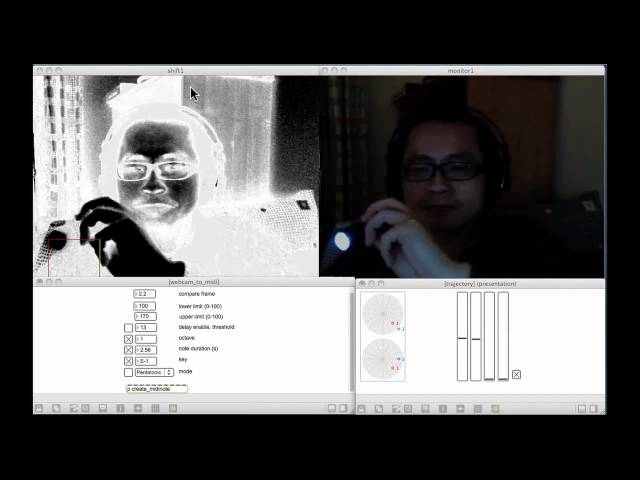 Playground - using webcam to control sound with Max MSP Jitter