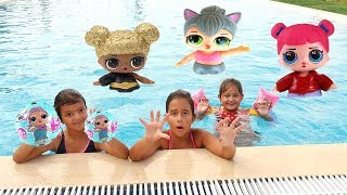 LOL BEBEKLERİMİZ HAVUZA DÜŞTÜ! Swimming Poll LOL Dolls Funny Kids Video