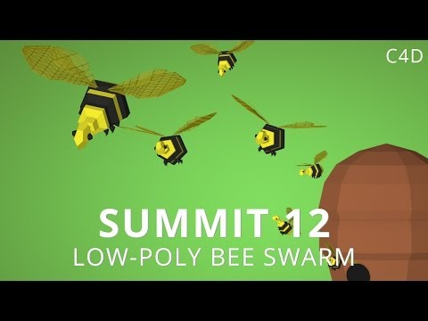 Summit 12   Low Poly Bee Swarm   Cinema 4d