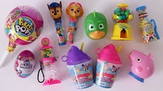 Toy candy dispensers opening Pikmi Pops lollipops squishy smoothie cups and more