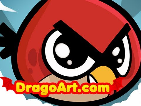 how to draw red angry bird step by step