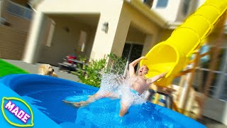 We Made a Water Slide in J-Fred's Backyard! Ft. Bryan from Team Edge