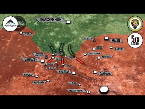 24 апреля 2017. Военная обстановка в Сирии. Развал обороны террористов в Хаме. Русский перевод.