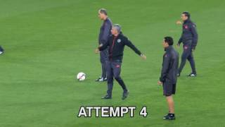 Jose Mourinho tries the crossbar challenge... and it's not great