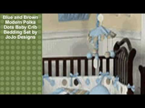 0 Blue and Brown Modern Polka Dots Baby Crib Bedding Set by Jo
