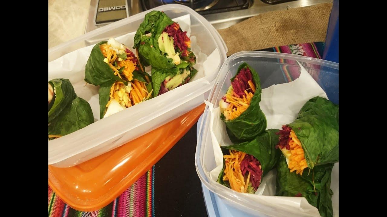 Rolls de verduras en hojas de acelga