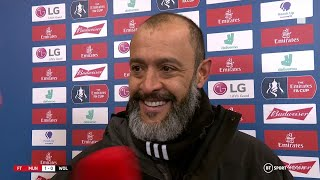 Nuno Espirito Santo reacts to Wolves' FA Cup exit at Old Trafford
