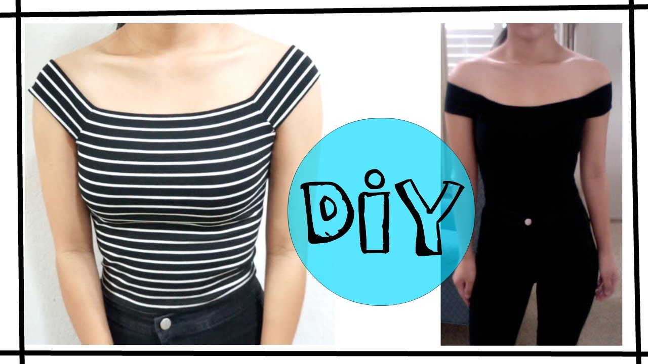 Diy off the shoulder top easy youtube for How to put a picture on a shirt diy
