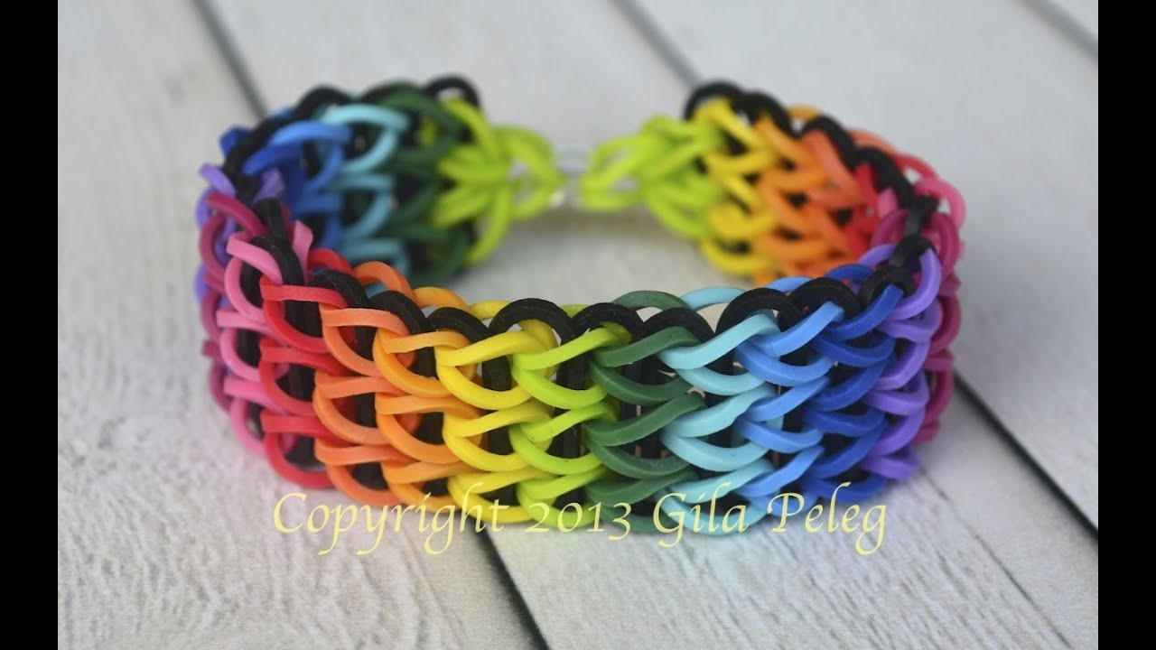 make a multicolor rainbow Loom, Triple Single bracelet. This bracelet ...