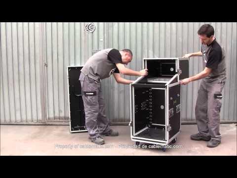 Mesa de control audiovisual rack 19 de dos módulos RackMatic distribuido por CABLEMATIC ®
