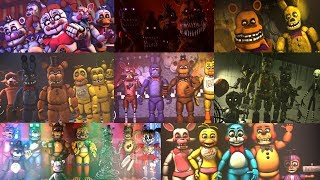 FNAF ALL ANIMATRONICS 2018 | FNAF1 ~ FNAF6 (Cannoned timeline)