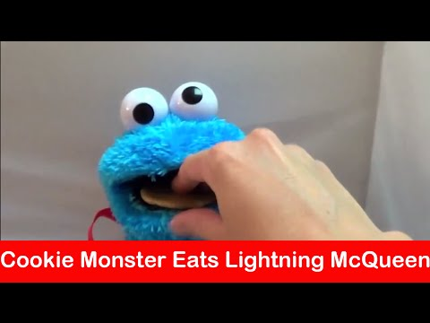 Cookie Monster Eats Lightning McQueen. Mater and Other Disney Pixar Cars Micro Drifters