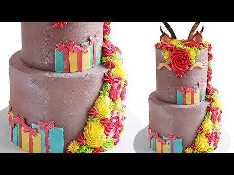 2 tier Reindeer Christmas Cake Tutorial- Rosie's Dessert Spot