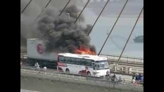 Cháy xe container trên cầu Bãi cháy 19/6/2015