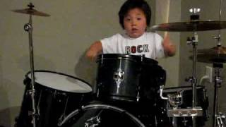 4 Year Old Drum Prodigy Aidan Plays Wipeout