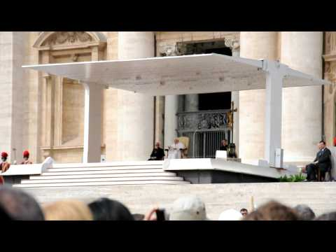 Pope Benedict XVI holds a public audience in Saint Peter's Square, Vatican City.