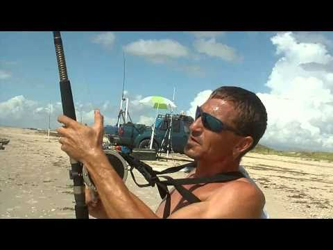 Day 2(2of4): Land Based Blacktip and Bull Shark Fishing. Matagorda Beach, Texas