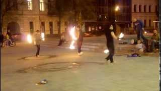 Fire show on the street / Огненное шоу