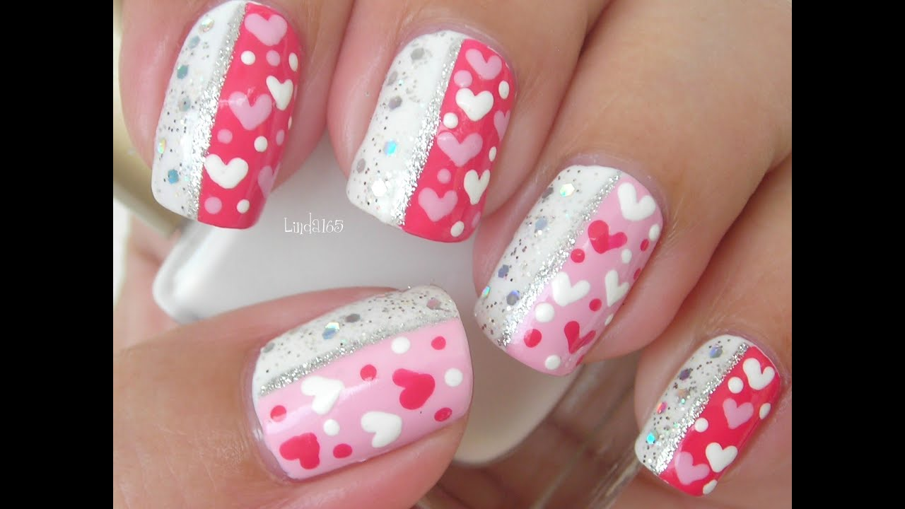 Nail art sparkly valentine decoraci n de u as youtube for Productos decoracion unas