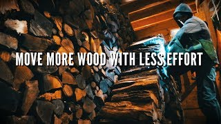 A new and easier way to get firewood from the piles into the house - WoodOx Sling