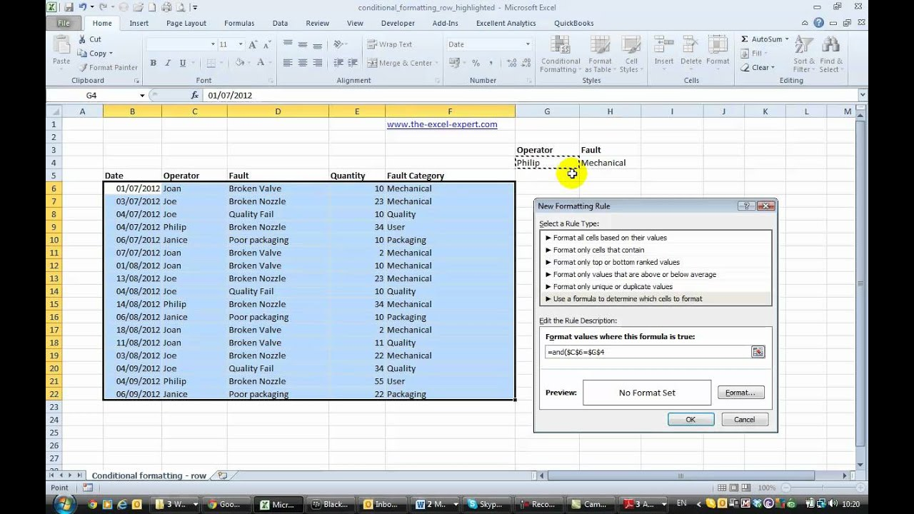 Conditional Formatting Row In Excel 2010 With Multiple