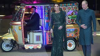 Duke and Duchess of Cambridge arrive in colourful rickshaw to Pakistan evening event