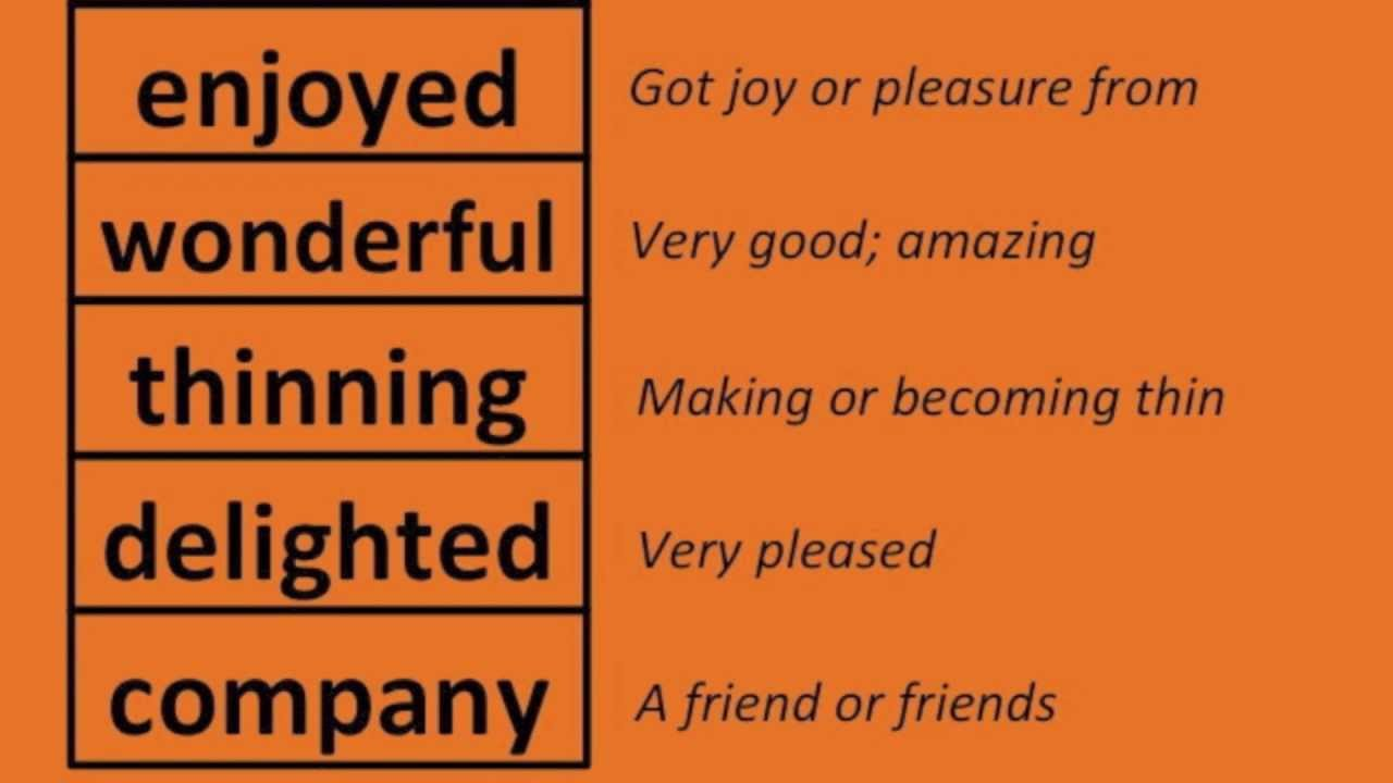 English Vocabulary - Word Meanings Part 1 of 5 - Grades 1