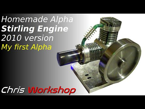 Stirling Engine - Moteur Stirling - Stirlingmotor (alpha type)