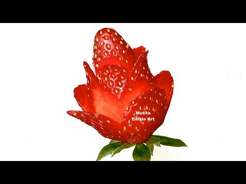 The Strawberry Red Rose Is Easy And Simple Flower To Make - Lesson 49 By Mutita Art Of Fruit Carving
