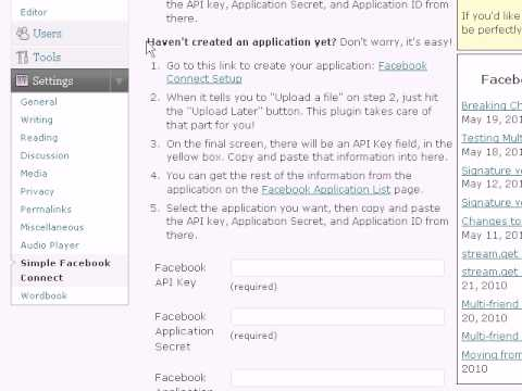 0 Creating Your Own Facebook Application for WordPress