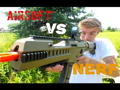 Nerf War: Nerf Vs  Airsoft (First Person View)
