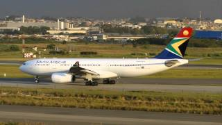 [ HD ] South African A330-243 at Guarulhos GRU/SBGR - Runway 27